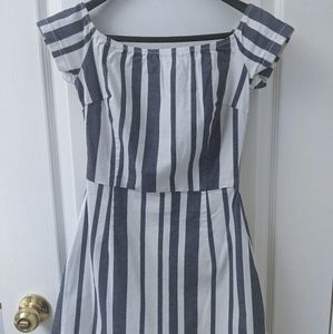 Topshop Striped Off the Shoulder Dress